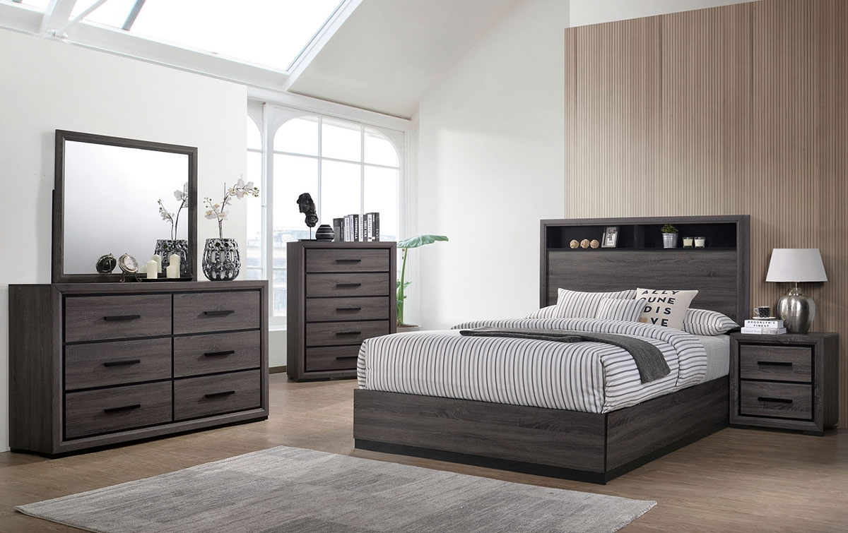 Agustin Bedroom Furniture Rustic Gray Finish