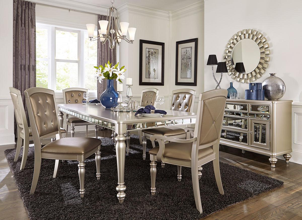the latest 674e2 cc857 Arsenia Mirrored Dining Room Furniture Set
