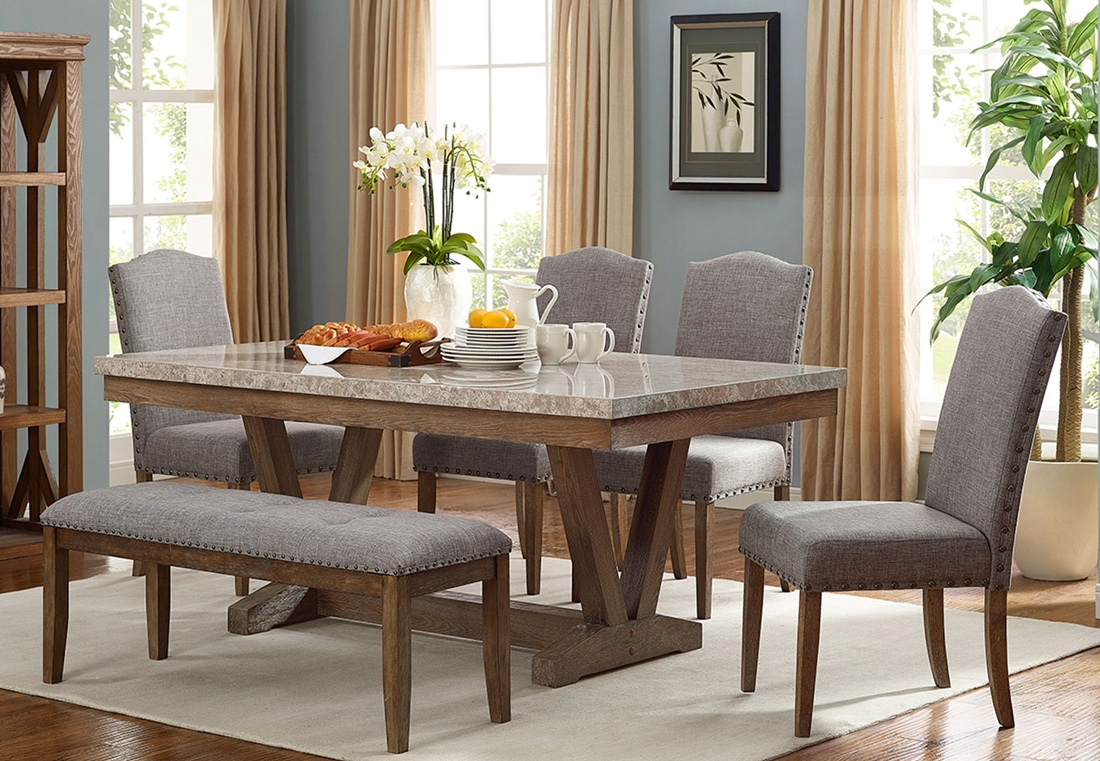Bellegarde Marble Top Dining Table Set