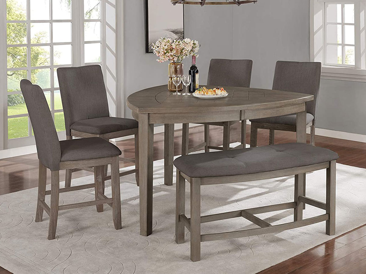 Bermuda Grey Triangle Counter Height Table Set