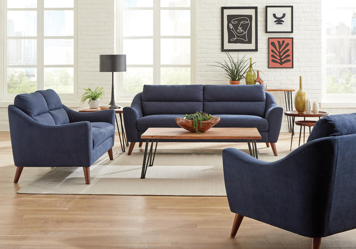 Beston Navy Blue Fabric Sofa