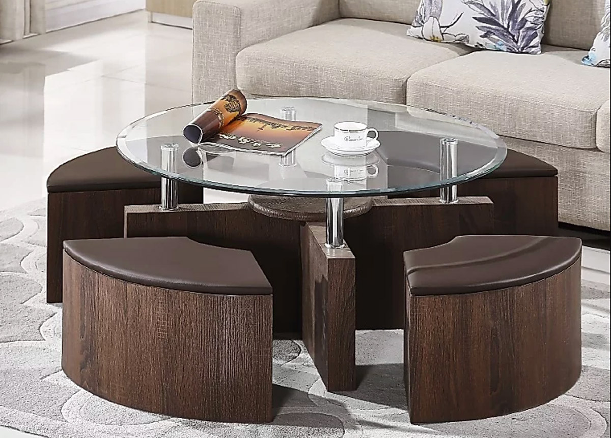 Cermak Glass Coffee Table With Ottomans