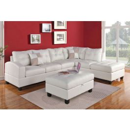 Excellent Bailey White Leather Sectional Sofa Lamtechconsult Wood Chair Design Ideas Lamtechconsultcom