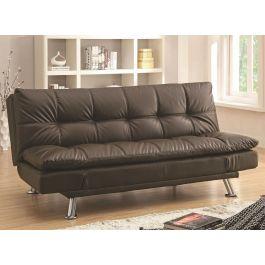 Chaise Dark Brown Leather Futon