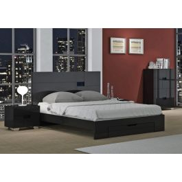 Misty Black Lacquer Bed Collection