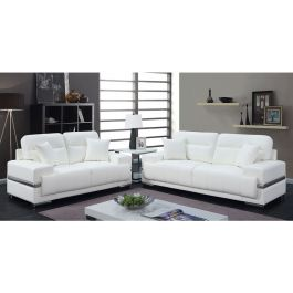 Monaco Modern White Leather Sofa