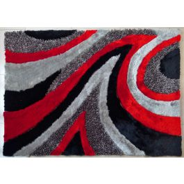 Modern Shag Area Rug Grey Red 27