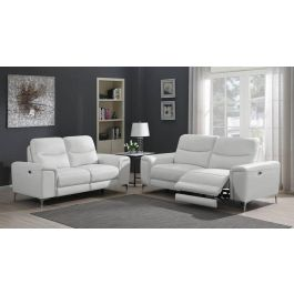Fantastic Zane Power Recliner Sofa White Leather Inzonedesignstudio Interior Chair Design Inzonedesignstudiocom