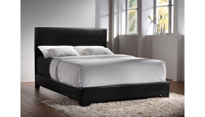 Sleek Contemporary Black Leather Bed