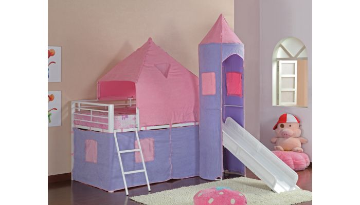 Castle Pink Bunk Bed With Slide