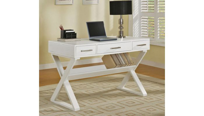 Bourdex Contemporary Office Desk White Finish