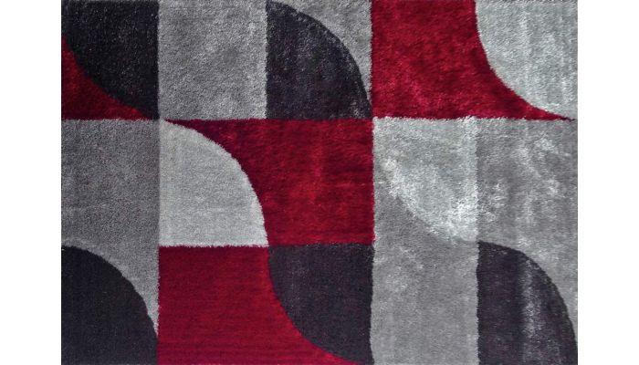 Abela Modern Shag Rug Grey Red