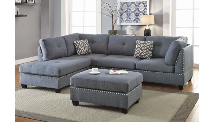 Adnus Grey Linen Sectional Sofa,Adnus Reversible Sectional Sofa