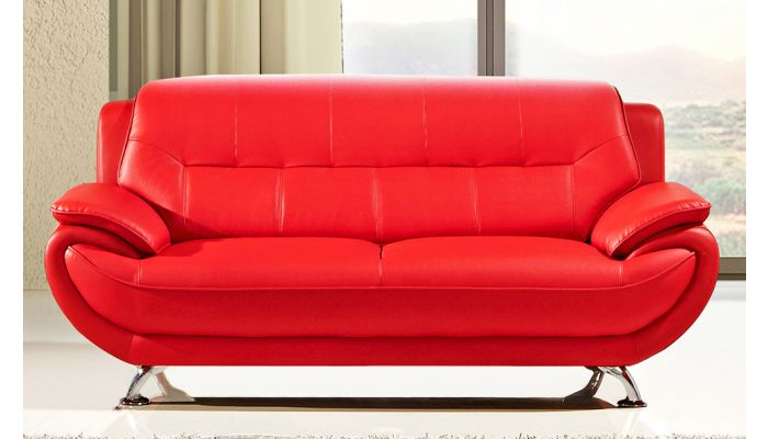 Sabina Red Leather Sofa