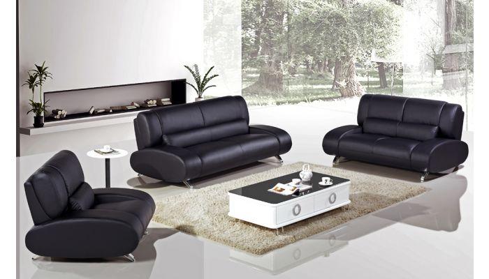 Rita Modern Black Leather Sofa
