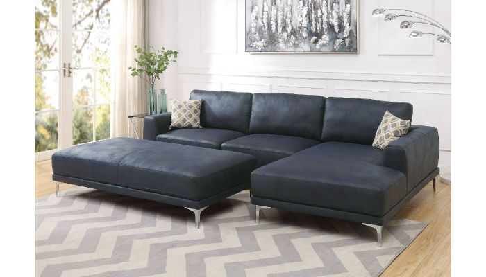 Brilliant Akara Navy Blue Modern Sectional Inzonedesignstudio Interior Chair Design Inzonedesignstudiocom