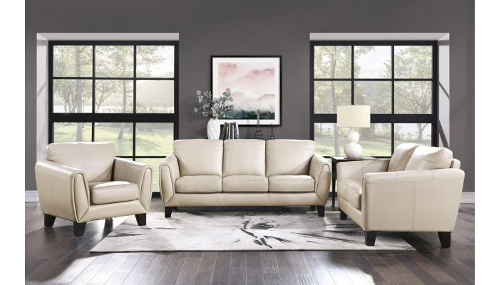 Albany Beige Top Grain Leather Living Room