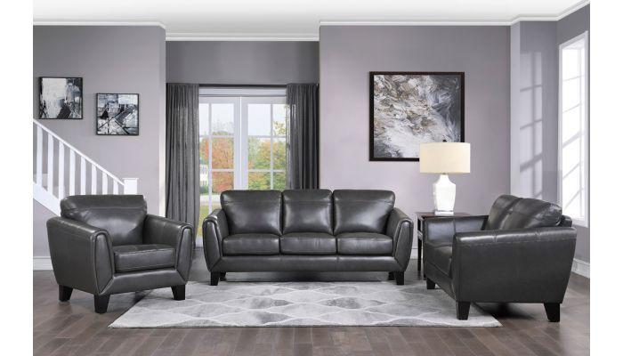 Albany Dark Grey Top Grain Leather Sofa Set