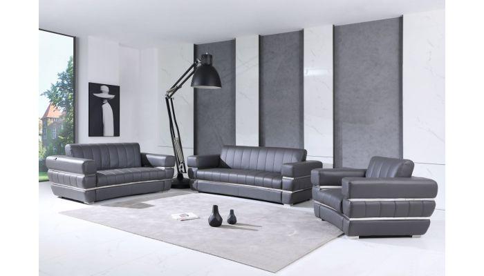 Allison Grey Italian Leather Sofa Set