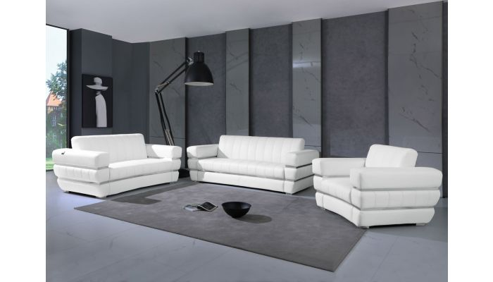 Allison White Italian Leather Sofa Set