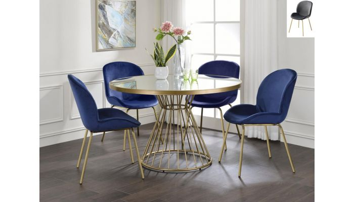 Allspice Round Mirrored Top Dining Table Set