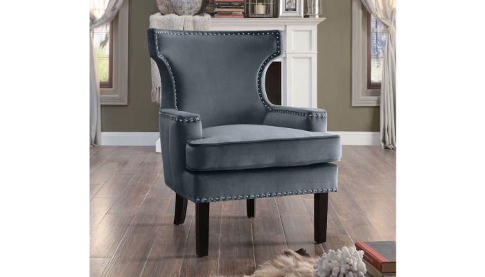 Brilliant Alyssa Gray Velvet Accent Chair Andrewgaddart Wooden Chair Designs For Living Room Andrewgaddartcom