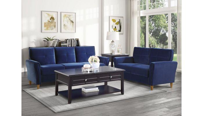 Americus Navy Blue Velvet Living Room