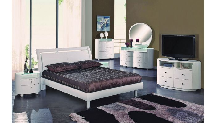 Amory Bedroom Furniture White Glossy Finish