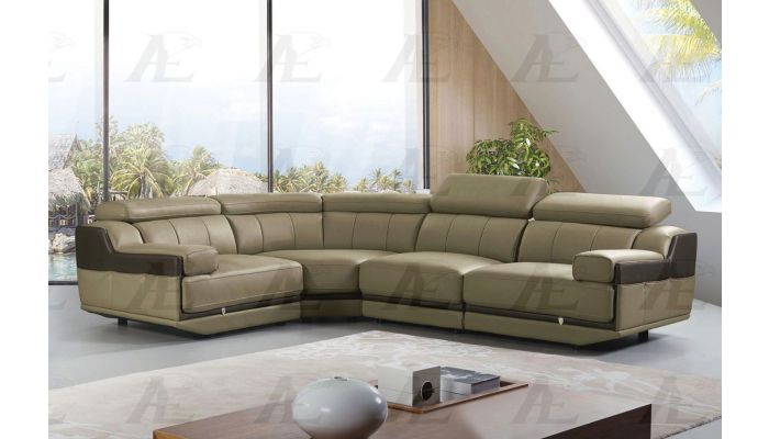 Anjelica Olive Grey Italian Leather Sectional