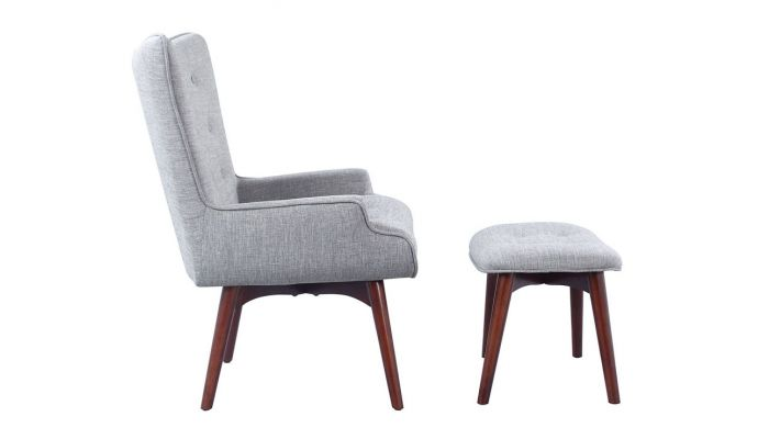 Outstanding Ansley Grey Linen Accent Chair With Ottoman Machost Co Dining Chair Design Ideas Machostcouk