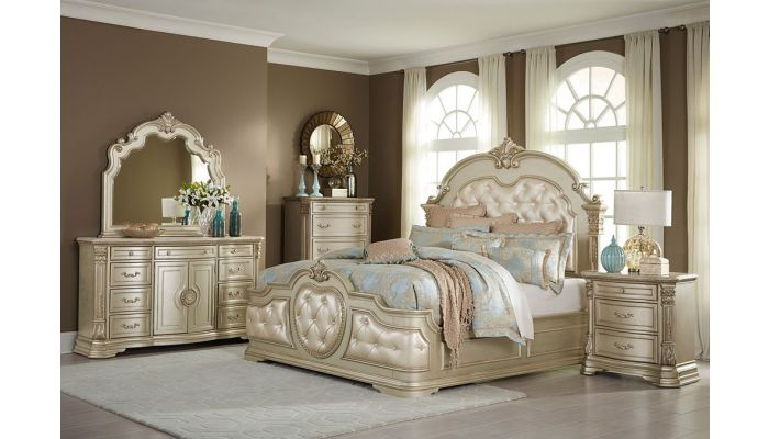Antoinetta Champagne Finish Bedroom Furniture