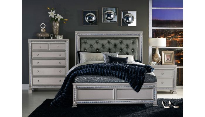 Arata Silver Finish Bed With Crystals