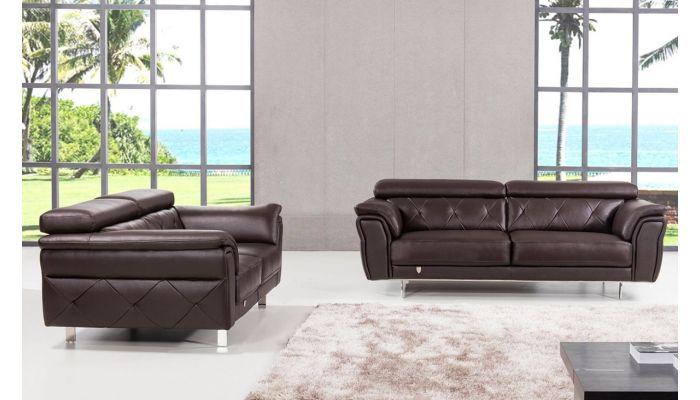 Arianna Chocolate Italian Leather Sofa Set