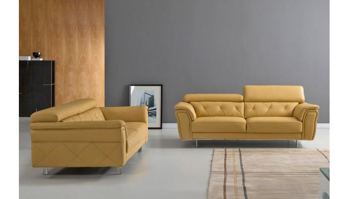 Arianna Yellow Italian Leather Living Room