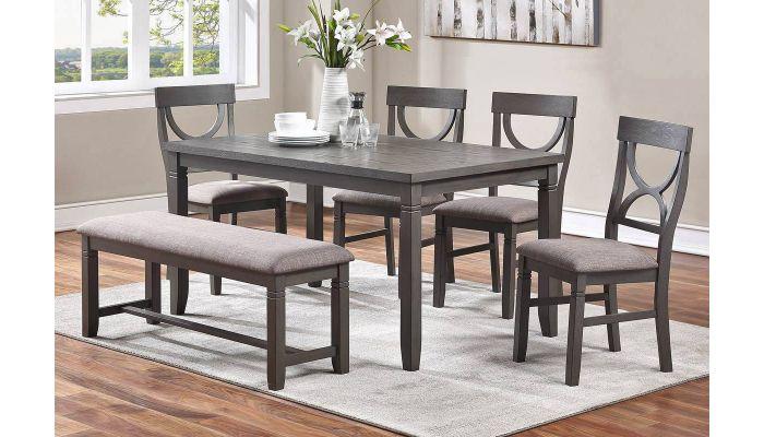 Armus Rustic Grey 6 Piece Dining Table Set, Gray Rustic Dining Room Set