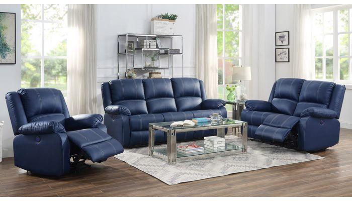 Alex Navy Blue Leather Recliner Sofa Set