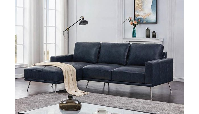 Baggio Navy Blue Leather Sectional