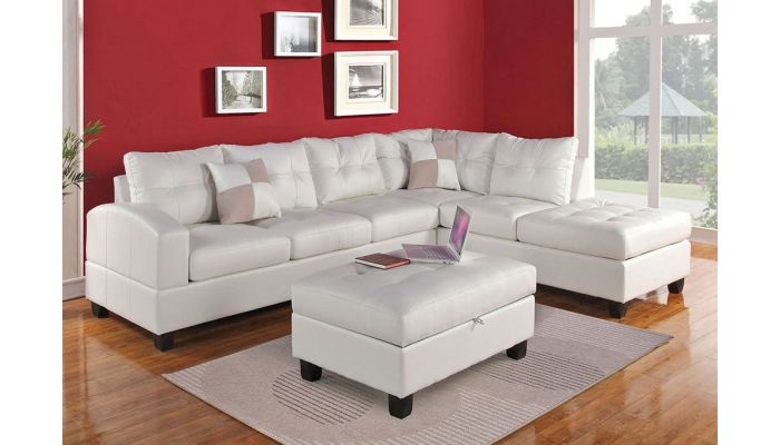 Bailey White Leather Sectional Sofa,Bailey Facing Left Side Sectional Sofa