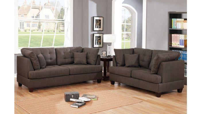 Balder Dark Coffee Fabric Sofa Set