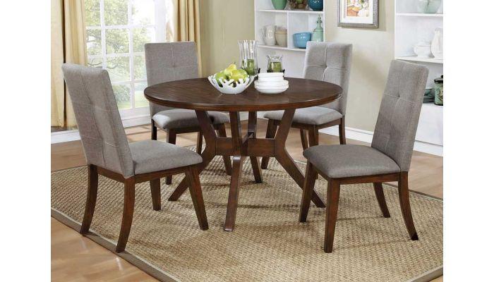 Bardolf Round Table Set Walnut Finish