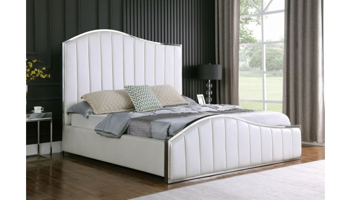 Barletta White Leather Modern Bed