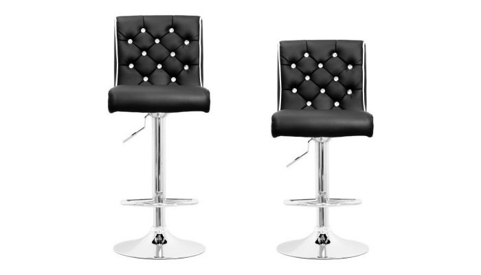 Enjoyable Barry Crystal Tufted Bar Stool Set Of 2 Dailytribune Chair Design For Home Dailytribuneorg