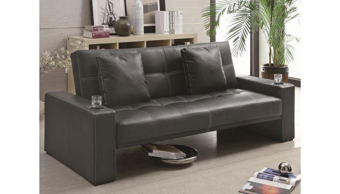 Bayner Modern Black Leather Sofa Bed