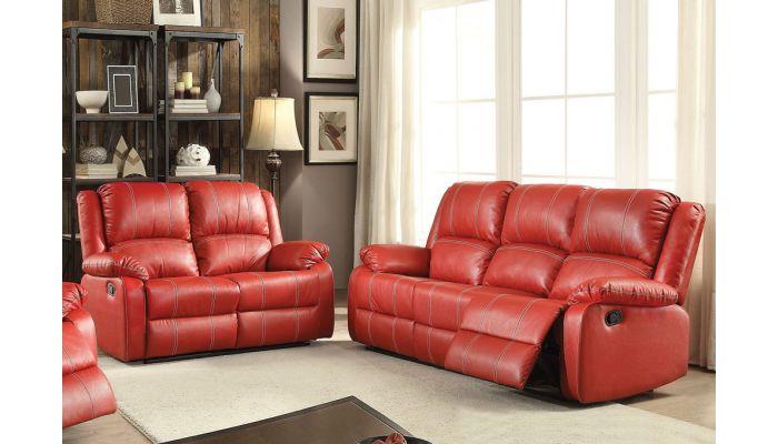 Beldan Red Leather Recliner Sofa
