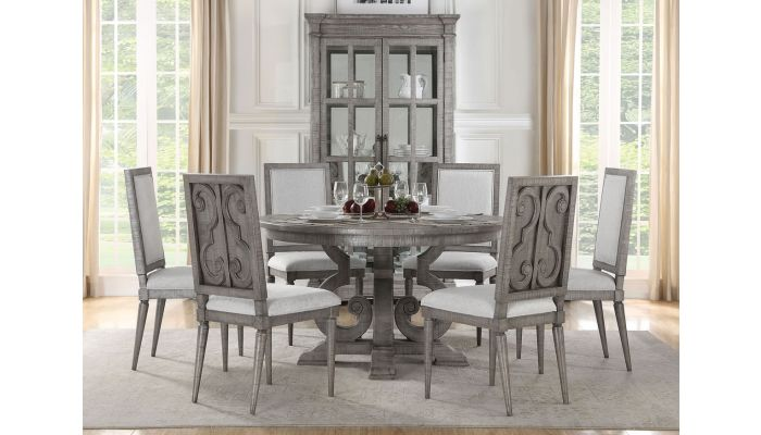 Belham Traditional Round Dining Table Set