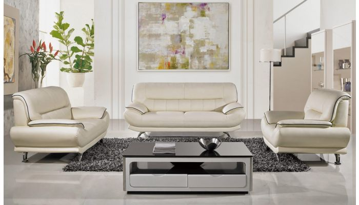 Bella Ivory Leather Living Room Sofa