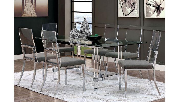 Bellini Modern Glass Top Acrylic Dining Table