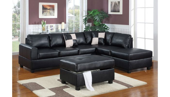 Belmont Black Leather Sectional With Ottoman