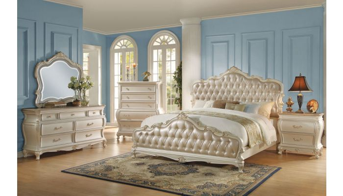 Bencivenni Pearl White Classic Bedroom Furniture