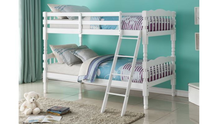 Benji White Twin Over Twin Bunk Bed